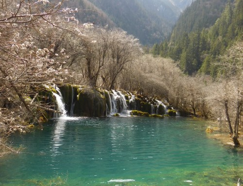 Mountains and blue lakes at Jiuzhaigou